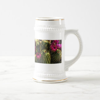 Cactus and Pink Flowers in Rough Pastels 18 Oz Beer Stein