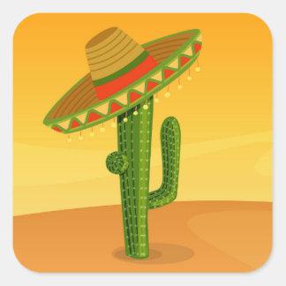 Cactus and Sombrero Square Sticker