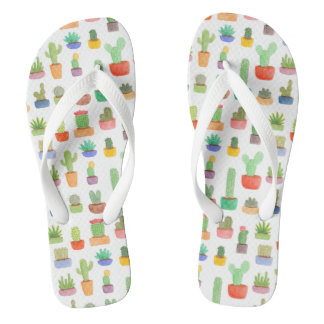 Cactus and Succulents in Pots Pattern Slippers Flip Flops