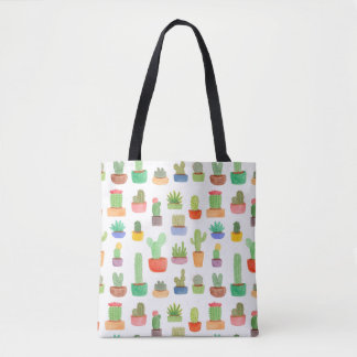 Cactus and Succulents in Pots Pattern Tote Bag