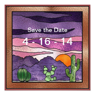 Cactus and Sun Southwestern Save the Date Card