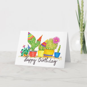 Happy cactus cards zazzle cactus birthday greeting card by nicole janes m4hsunfo
