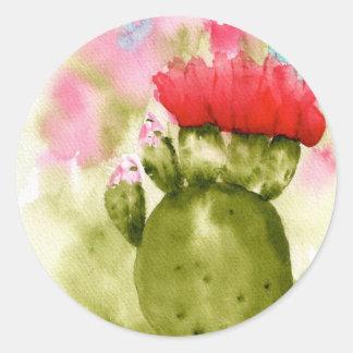 Cactus Bloom Classic Round Sticker