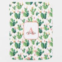 Cactus Bloom Floral Baby Girl Blanket