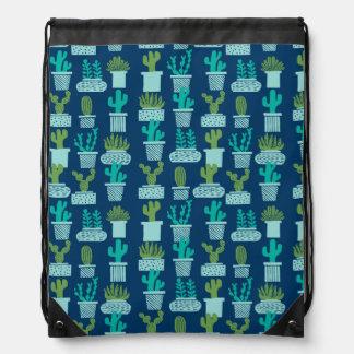 Cactus Blue Terrarium Succulent / Andrea Lauren Drawstring Bag