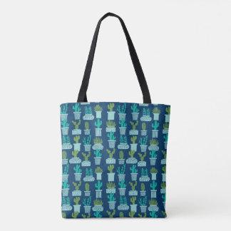 Cactus Blue Terrarium Succulent / Andrea Lauren Tote Bag