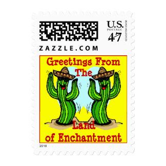 CACTUS CACTI DANCING SAGUARO w/ SOMBREROS Postage Stamp