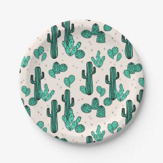 Cactus / Cacti Green Cream Tropic / Andrea Lauren Paper Plate