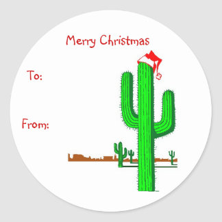 Cactus Christmas Tree - Gift Tags Classic Round Sticker