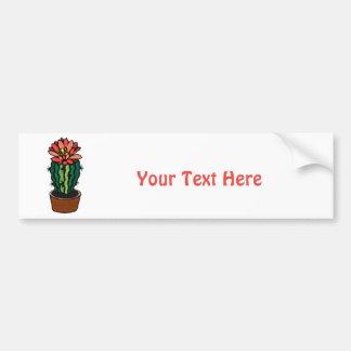 Cactus coloreado florecido rojo de la tinta pegatina de parachoque