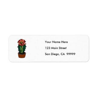 Cactus coloreado florecido rojo de la tinta etiqueta de remitente