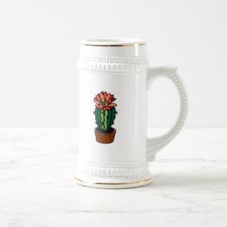 Cactus coloreado florecido rojo de la tinta jarra de cerveza