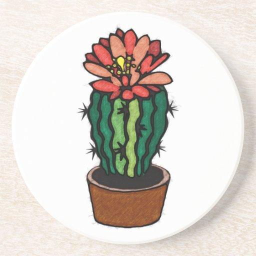 Cactus coloreado florecido rojo de la tinta posavasos cerveza