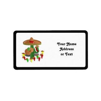 Cactus con pimientas del baile etiquetas de dirección