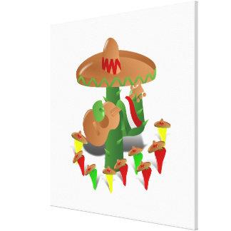 Cactus con pimientas del baile impresión de lienzo