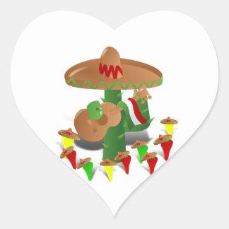 Cactus con pimientas del baile pegatina en forma de corazón
