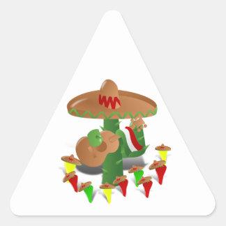 Cactus con pimientas del baile pegatina de trianguladas