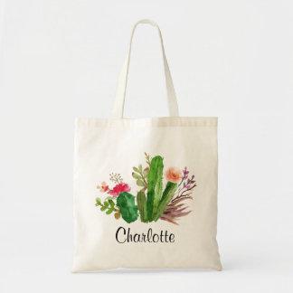 Cactus,Custom Name,Personalized Tote Bag