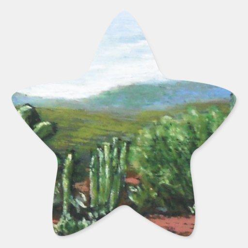 Cactus de Arizona Pegatina En Forma De Estrella