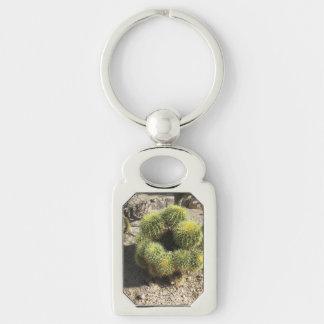 Cactus de barril de oro llavero plateado rectangular