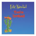 Cactus de Feliz Navidad con el navidad de Sombero Invitaciones Personales