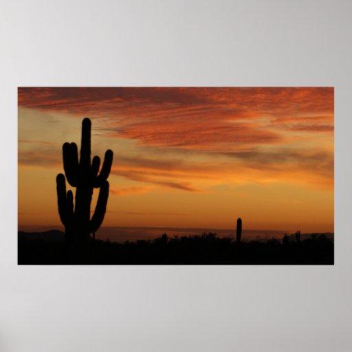 Cactus de IDKP Arizona en la puesta del sol Póster
