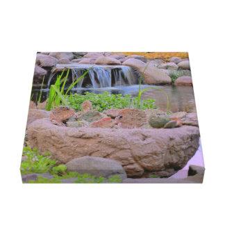 Cactus de Michigan cerca de la cascada Impresión En Lona Estirada