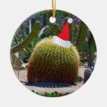 Cactus de navidad adorno redondo de cerámica