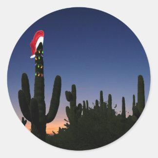 Cactus de navidad pegatina redonda