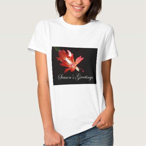 Cactus de navidad rojo de los saludos de la poleras