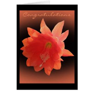 Cactus de orquídea de la enhorabuena tarjeta de felicitación
