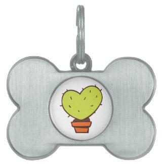 Cactus del corazón placas de mascota