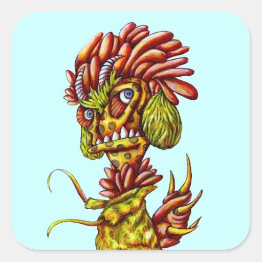 Cactus del cuerno de los pegatinas del dibujo anim