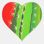 Cactus del desierto pegatina en forma de corazón