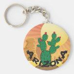 Cactus del higo chumbo de la puesta del sol de llavero redondo tipo pin