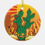 Cactus del higo chumbo del navidad de AZ Arizona Adorno Redondo De Cerámica