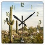 Cactus del Saguaro, Arizona, los E.E.U.U. Reloj Cuadrado