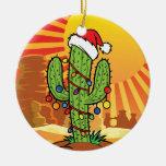Cactus del Saguaro del navidad de AZ Arizona Adorno Navideño Redondo De Cerámica