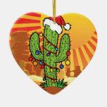 Cactus del Saguaro del navidad de AZ Arizona Adorno De Cerámica En Forma De Corazón