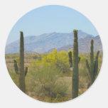 Cactus del Saguaro Etiqueta Redonda