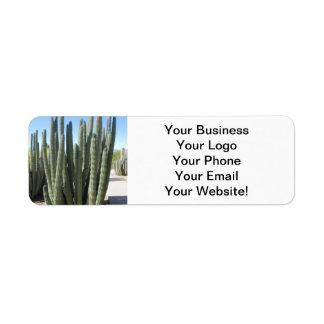Cactus del tubo de órgano etiqueta de remite