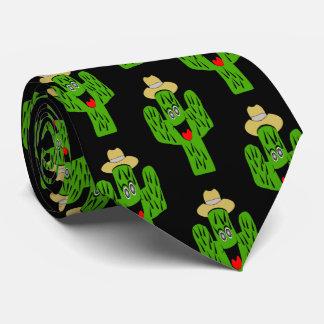 Cactus Design Black Neck Tie