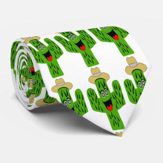 Cactus Design White Neck Tie