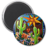 Cactus en el sudoeste imán redondo 5 cm