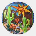 Cactus en el sudoeste pegatina redonda