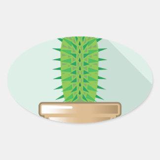 Cactus en un pote pegatina ovalada
