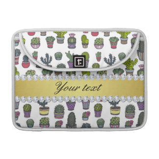 Cactus Faux Gold Bling Diamonds MacBook Pro Sleeve