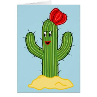 Cactus feliz galón (fondo azul) del dibujo animado felicitación