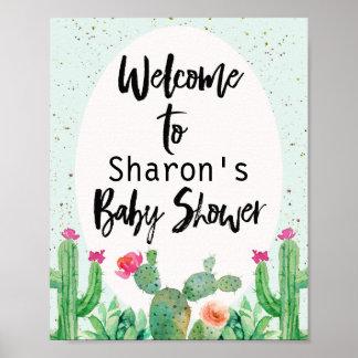 Cactus Fiesta Baby Shower Welcome Poster