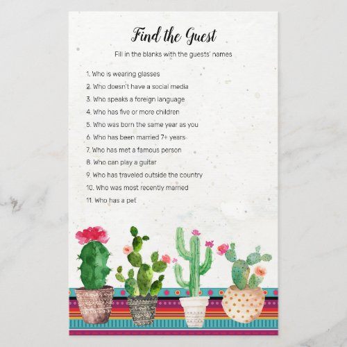 Cactus Fiesta Find the Guest game